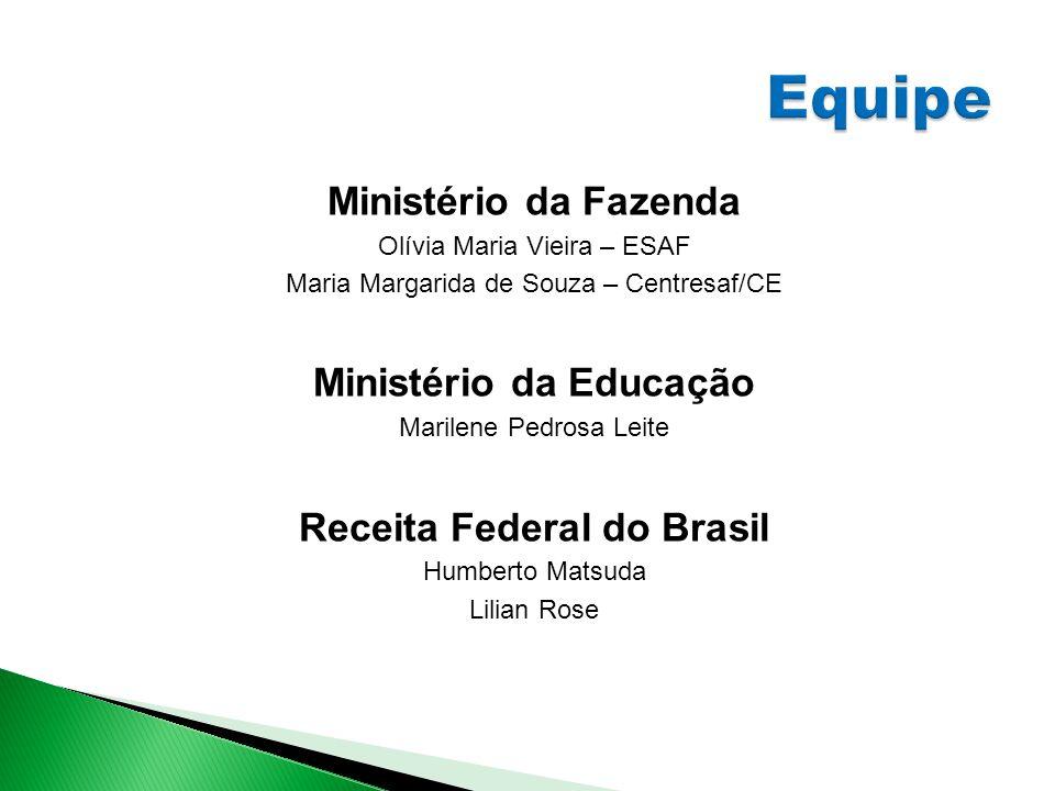 Ministério da Fazenda Olívia Maria Vieira – ESAF Maria Margarida de Souza – Centresaf/CE Ministério da Educação Marilene Pedrosa Leite Receita Federal