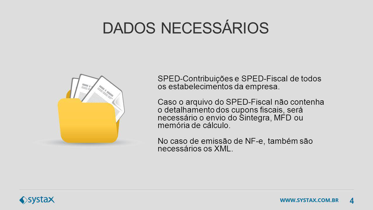 DADOS NECESSÁRIOS SPED-Contribuições e SPED-Fiscal de todos os estabelecimentos da empresa. Caso o arquivo do SPED-Fiscal não contenha o detalhamento