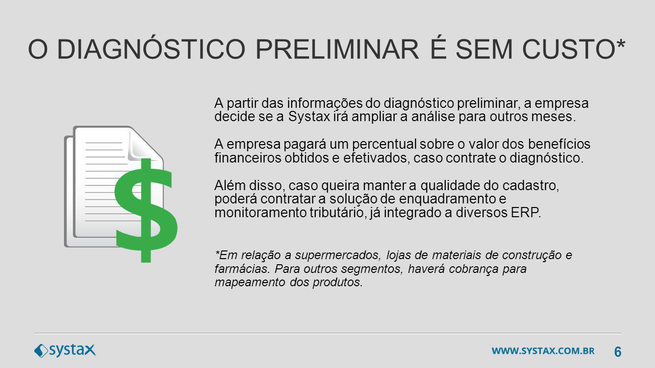 DIAGNÓSTICO FISCAL CLASSIFICAÇÃO FISCAL DE MERCADORIAS PARAMETRIZAÇÃO FISCAL (ICMS, ICMS/ST, PIS, COFINS, IPI e II) CONTROLE DE RETENÇÕES VALIDAÇÃO TRIBUTÁRIA DE NF-e GESTÃO DE DOCUMENTOS ELETRÔNICOS AUDITORIA DIGITAL E CADASTROS