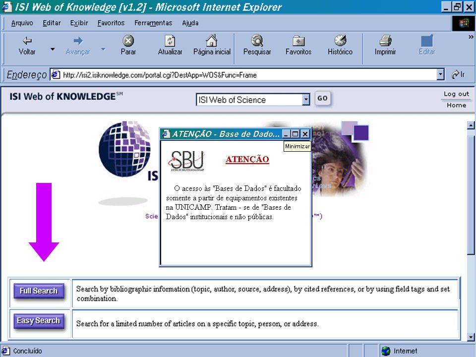 (c) GCS, 200327 Web of Science n Base de dados de Citação que engloba as áreas de Ciências, Ciências Sociais e Artes/ Humanidades. n Temporariamente e