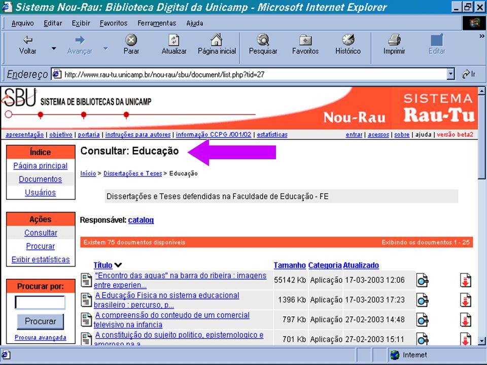 (c) GCS, 200329 Teses e Dissertações Digitais n Organização de todos os tipos de suportes documentais gerada na UNICAMP, em formato digital. n Acervo