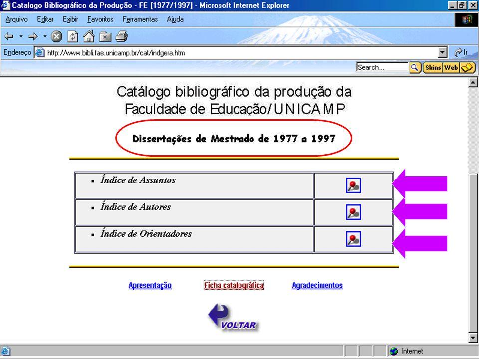 (c) GCS, 200330 Catálogo Bibliográficos de Dissertação - FE/UNICAMP
