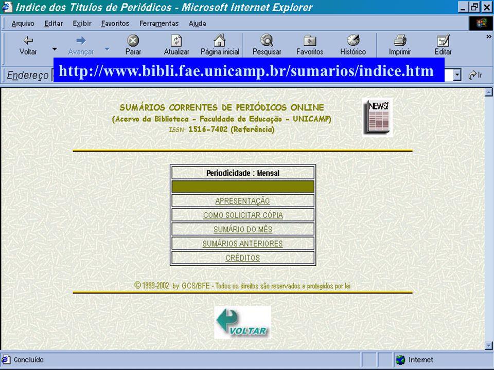 (c) GCS, 200337 Sumários de Periódicos Online http://www.bibli.fae.unicamp.br/sumarios/indice.htm