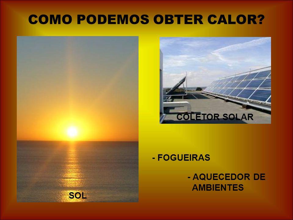 COMO PODEMOS OBTER CALOR? SOL COLETOR SOLAR - AQUECEDOR DE AMBIENTES - FOGUEIRAS