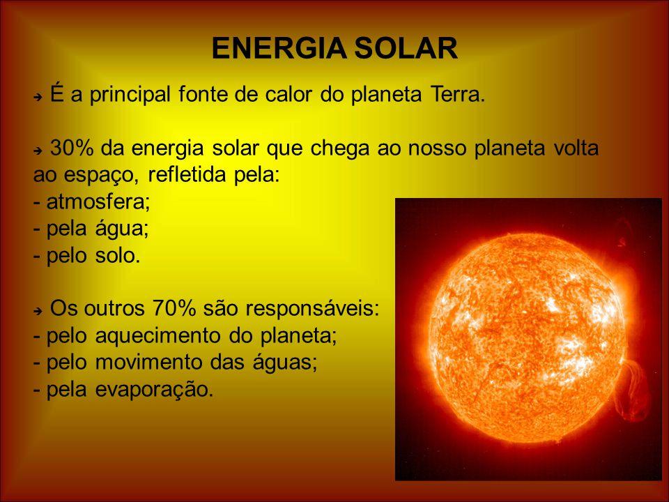  É a principal fonte de calor do planeta Terra.  30% da energia solar que chega ao nosso planeta volta ao espaço, refletida pela: - atmosfera; - pel