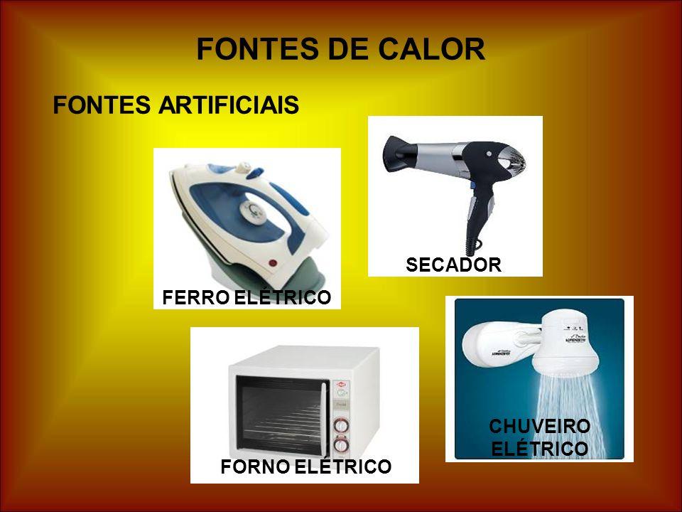 FONTES DE CALOR FONTES ARTIFICIAIS FERRO ELÉTRICO SECADOR FORNO ELÉTRICO CHUVEIRO ELÉTRICO