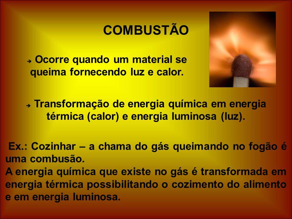 COMBUSTÃO  Ocorre quando um material se queima fornecendo luz e calor.  Transformação de energia química em energia térmica (calor) e energia lumino