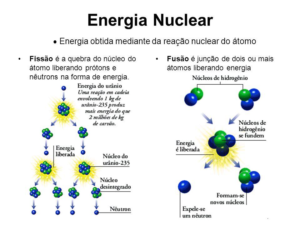 Energia Nuclear Fissão é a quebra do núcleo do átomo liberando prótons e nêutrons na forma de energia. Fusão é junção de dois ou mais átomos liberando