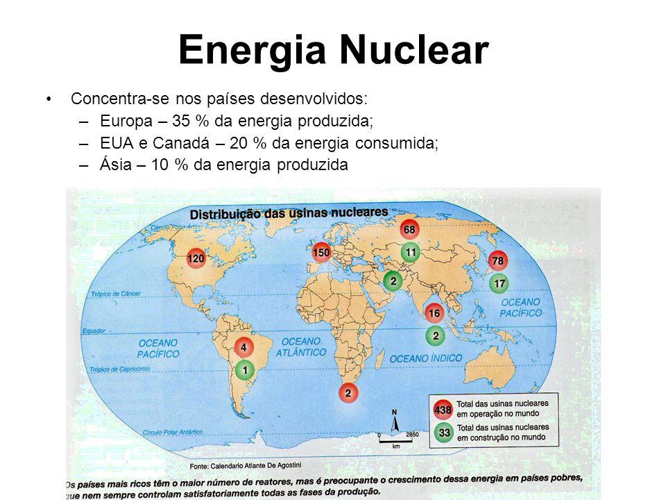 Energia Nuclear Concentra-se nos países desenvolvidos: –Europa – 35 % da energia produzida; –EUA e Canadá – 20 % da energia consumida; –Ásia – 10 % da