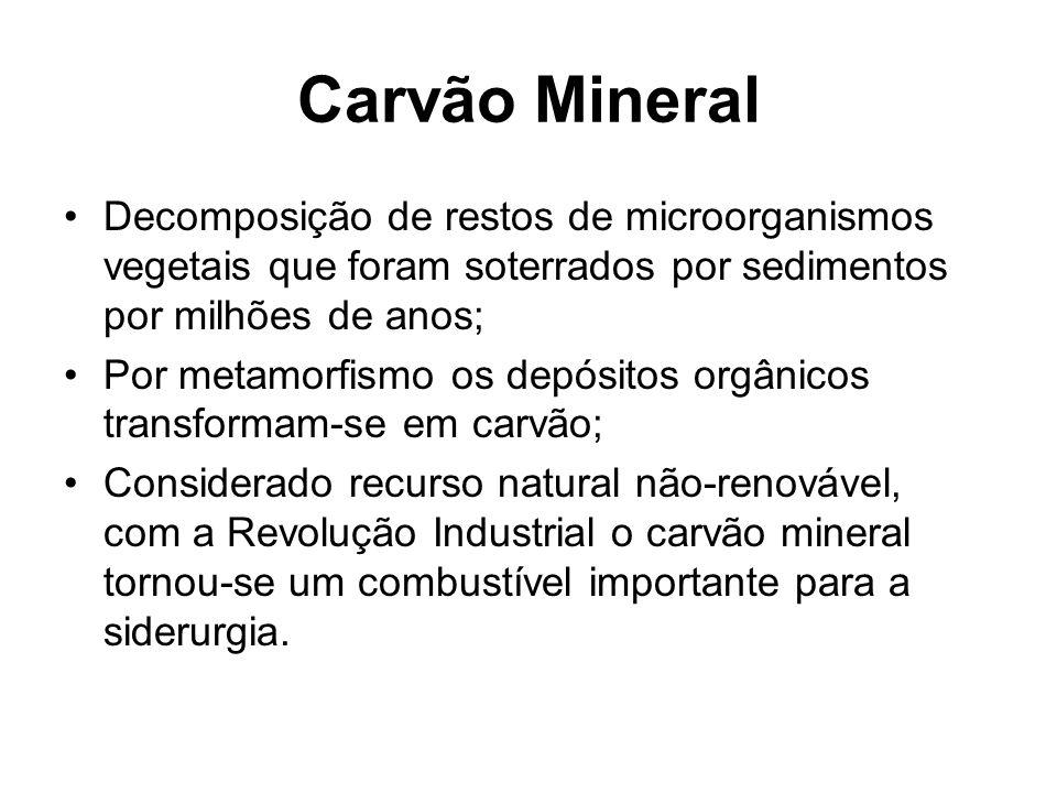 Carvão Mineral Decomposição de restos de microorganismos vegetais que foram soterrados por sedimentos por milhões de anos; Por metamorfismo os depósit