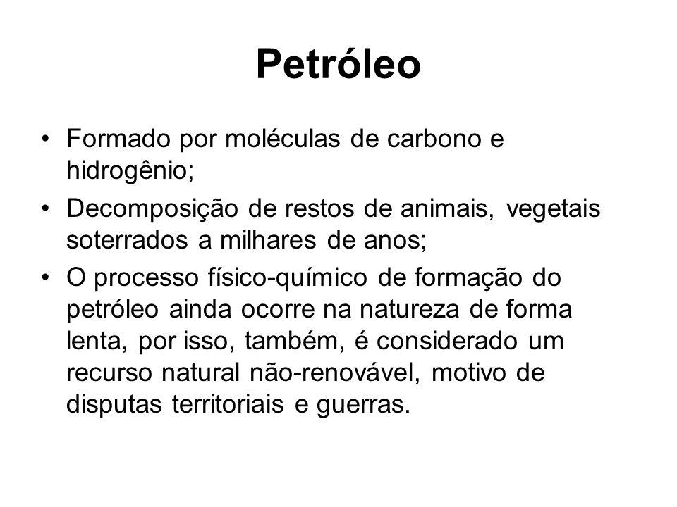 Petróleo Formado por moléculas de carbono e hidrogênio; Decomposição de restos de animais, vegetais soterrados a milhares de anos; O processo físico-q