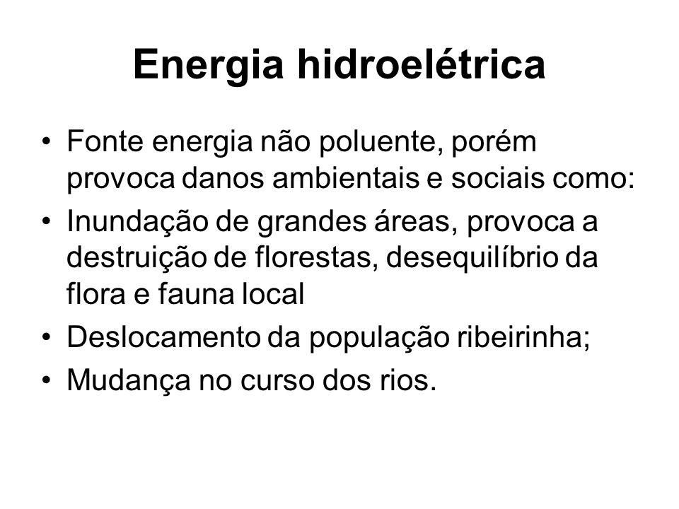 Energia hidroelétrica Fonte energia não poluente, porém provoca danos ambientais e sociais como: Inundação de grandes áreas, provoca a destruição de florestas, desequilíbrio da flora e fauna local Deslocamento da população ribeirinha; Mudança no curso dos rios.