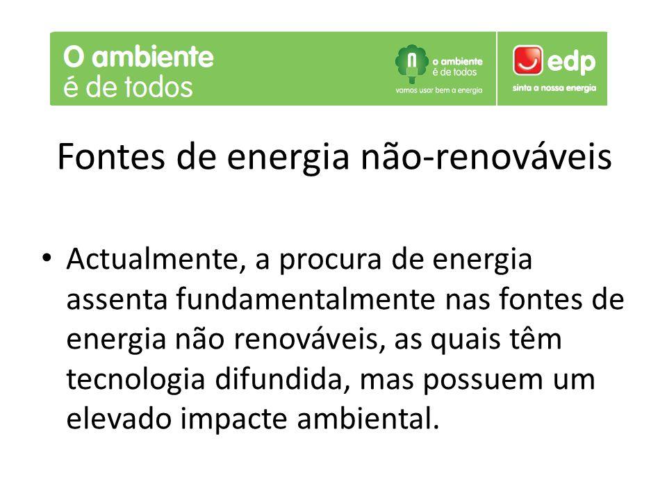 Fontes de energia não-renováveis Actualmente, a procura de energia assenta fundamentalmente nas fontes de energia não renováveis, as quais têm tecnolo