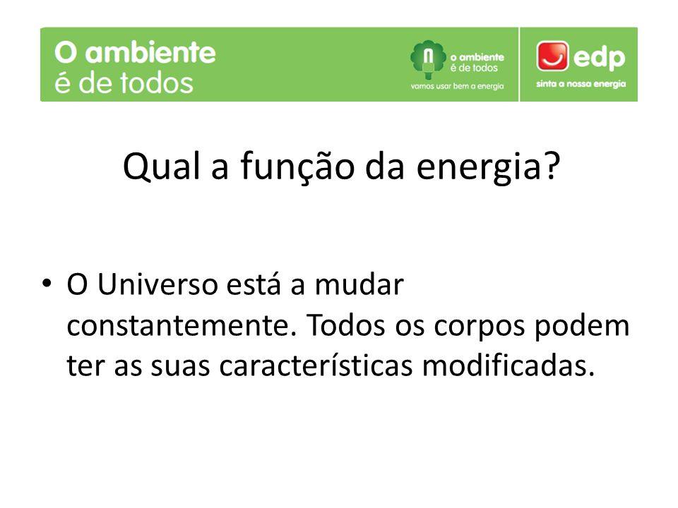 O Universo está a mudar constantemente. Todos os corpos podem ter as suas características modificadas. Qual a função da energia?