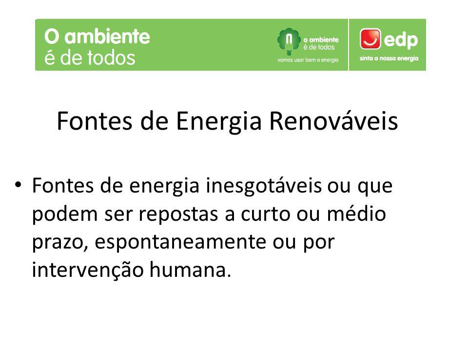 Fontes de Energia Renováveis Fontes de energia inesgotáveis ou que podem ser repostas a curto ou médio prazo, espontaneamente ou por intervenção human