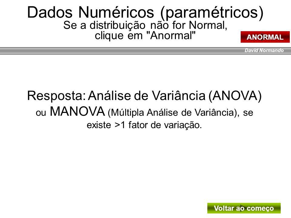 David Normando Resposta: Análise de Variância (ANOVA) ou MANOVA (Múltipla Análise de Variância), se existe >1 fator de variação. Dados Numéricos (para