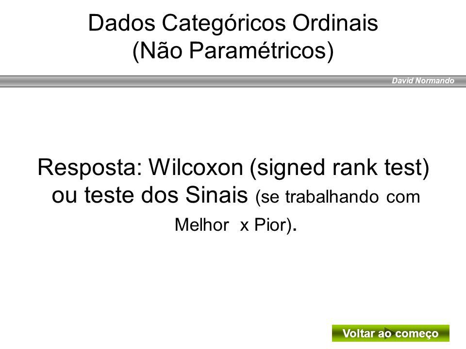 David Normando Resposta: Wilcoxon (signed rank test) ou teste dos Sinais (se trabalhando com Melhor x Pior). Voltar ao começo Dados Categóricos Ordina
