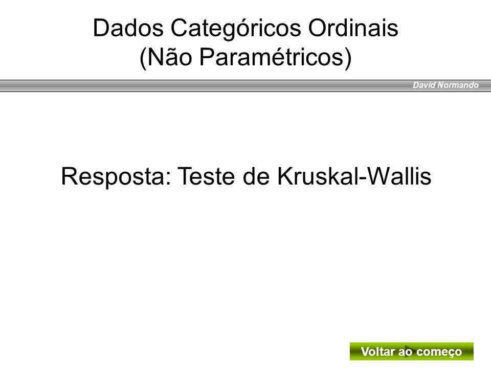 David Normando Resposta: Teste de Kruskal-Wallis Voltar ao começo Dados Categóricos Ordinais (Não Paramétricos)