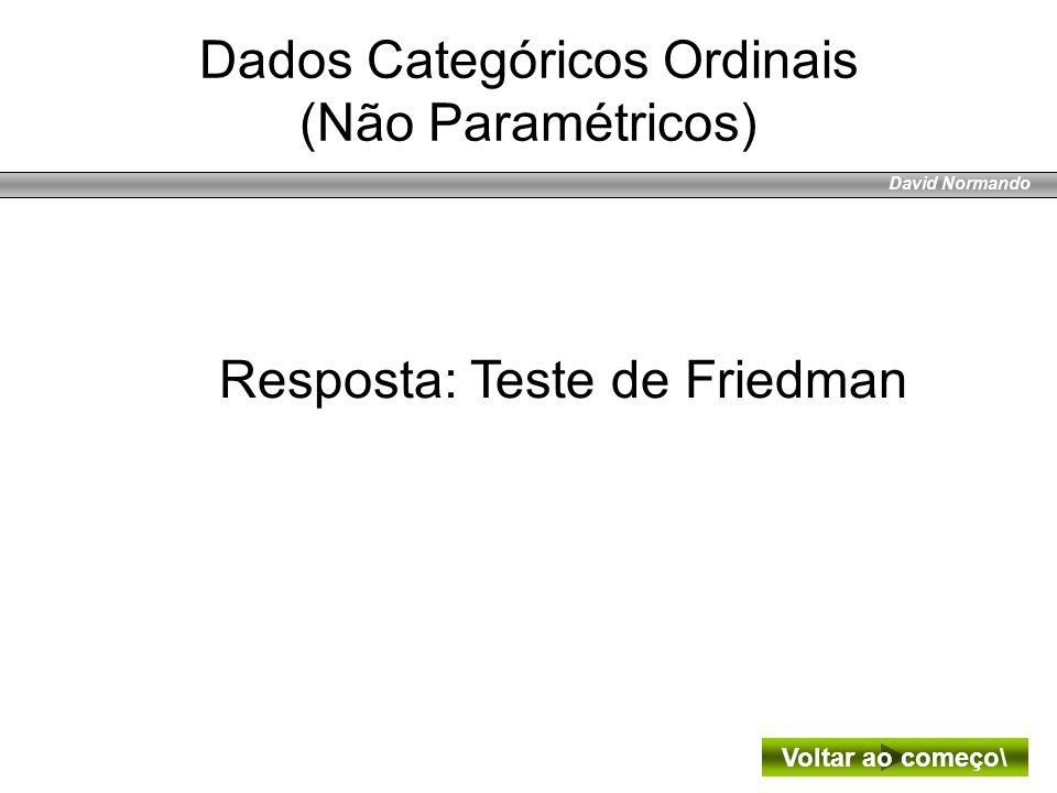 David Normando Resposta: Teste de Friedman Voltar ao começo\ Dados Categóricos Ordinais (Não Paramétricos)