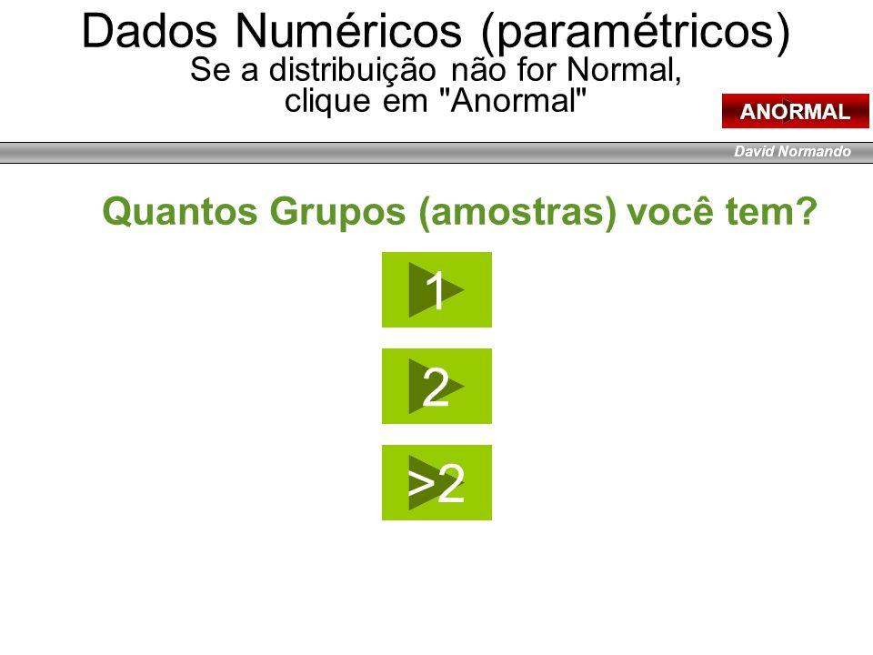 David Normando Dados Numéricos (paramétricos) Se a distribuição não for Normal, clique em