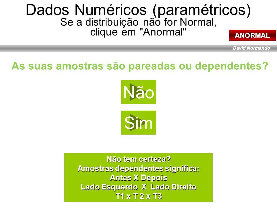 David Normando Dados Numéricos (paramétricos) Se a distribuição não for Normal, clique em Anormal ANORMAL Quantas variáveis você tem.
