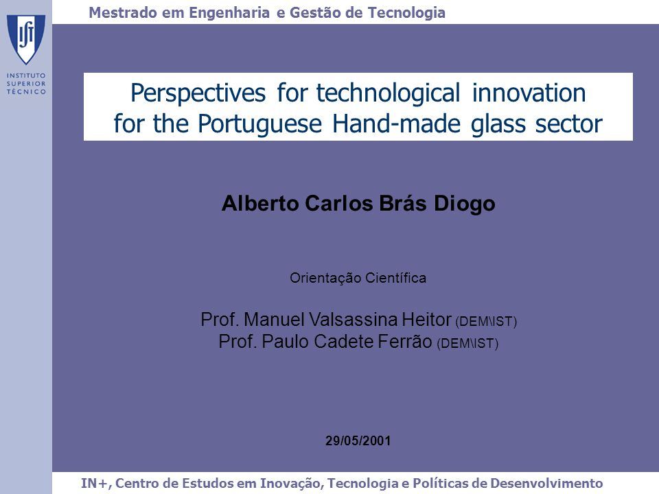 Perspectives for technological innovation for the Portuguese Hand-made glass sector V.