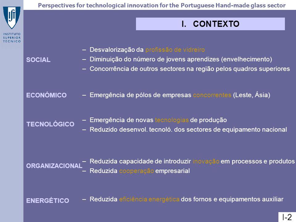 Perspectives for technological innovation for the Portuguese Hand-made glass sector IMPACTOS REGIONAIS I-4 – Acentuada diminuição do emprego – Flutuações na facturação e exportações – Aumento das importações