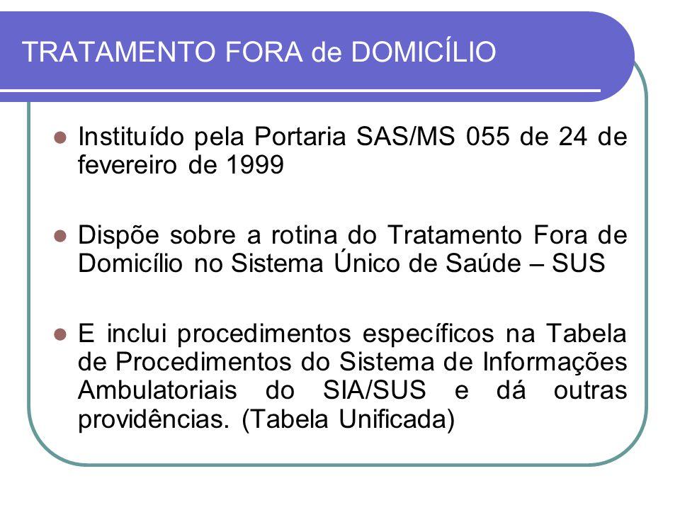 TRATAMENTO FORA de DOMICÍLIO Instituído pela Portaria SAS/MS 055 de 24 de fevereiro de 1999 Dispõe sobre a rotina do Tratamento Fora de Domicílio no S