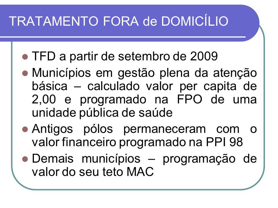 TRATAMENTO FORA de DOMICÍLIO TFD a partir de setembro de 2009 Municípios em gestão plena da atenção básica – calculado valor per capita de 2,00 e prog