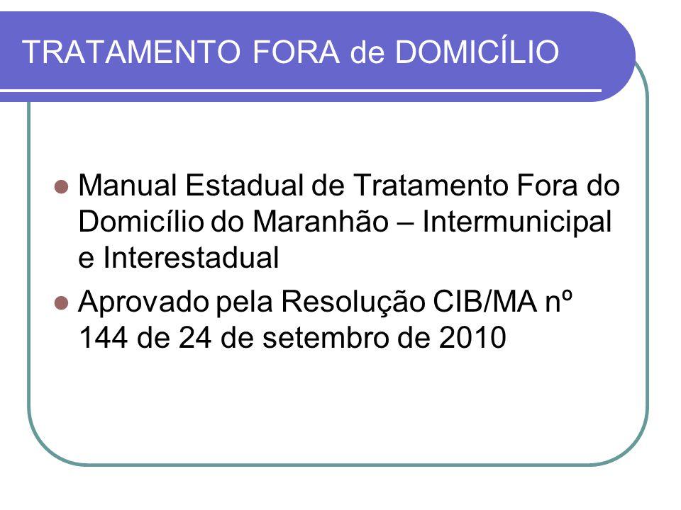 TRATAMENTO FORA de DOMICÍLIO Manual Estadual de Tratamento Fora do Domicílio do Maranhão – Intermunicipal e Interestadual Aprovado pela Resolução CIB/