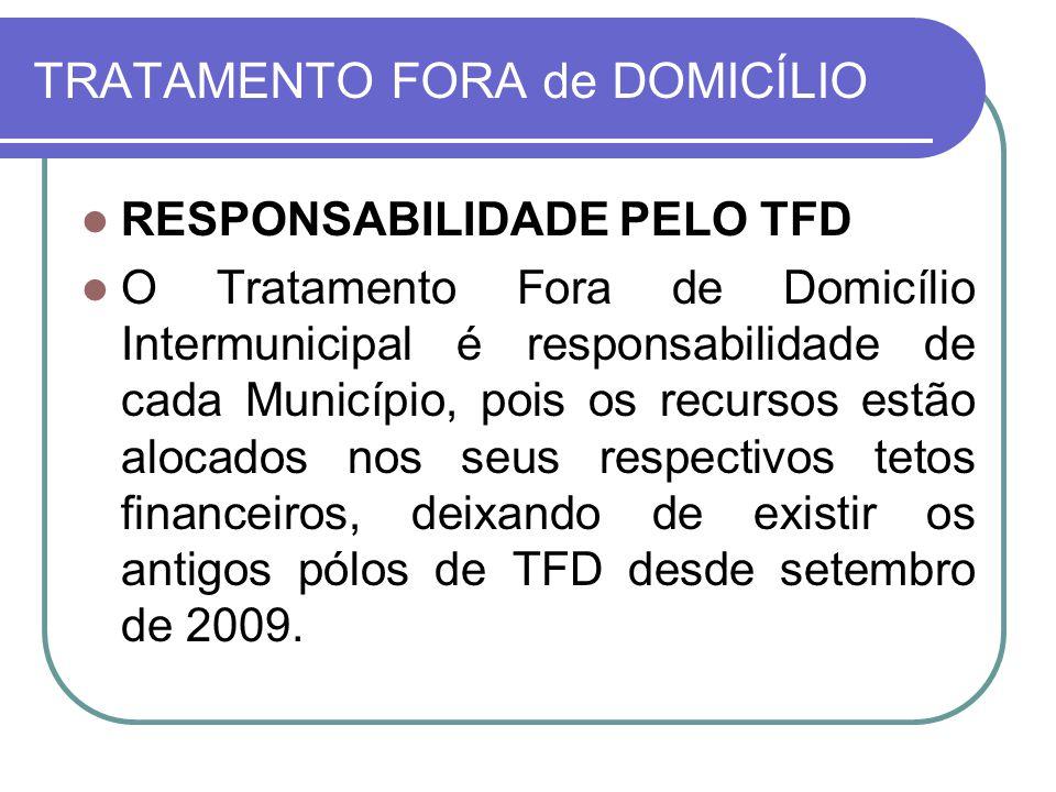 TRATAMENTO FORA de DOMICÍLIO RESPONSABILIDADE PELO TFD O Tratamento Fora de Domicílio Intermunicipal é responsabilidade de cada Município, pois os rec