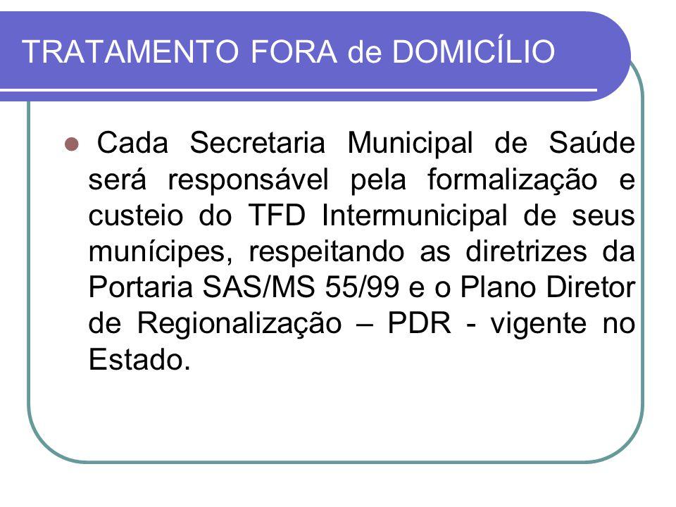 TRATAMENTO FORA de DOMICÍLIO Cada Secretaria Municipal de Saúde será responsável pela formalização e custeio do TFD Intermunicipal de seus munícipes,