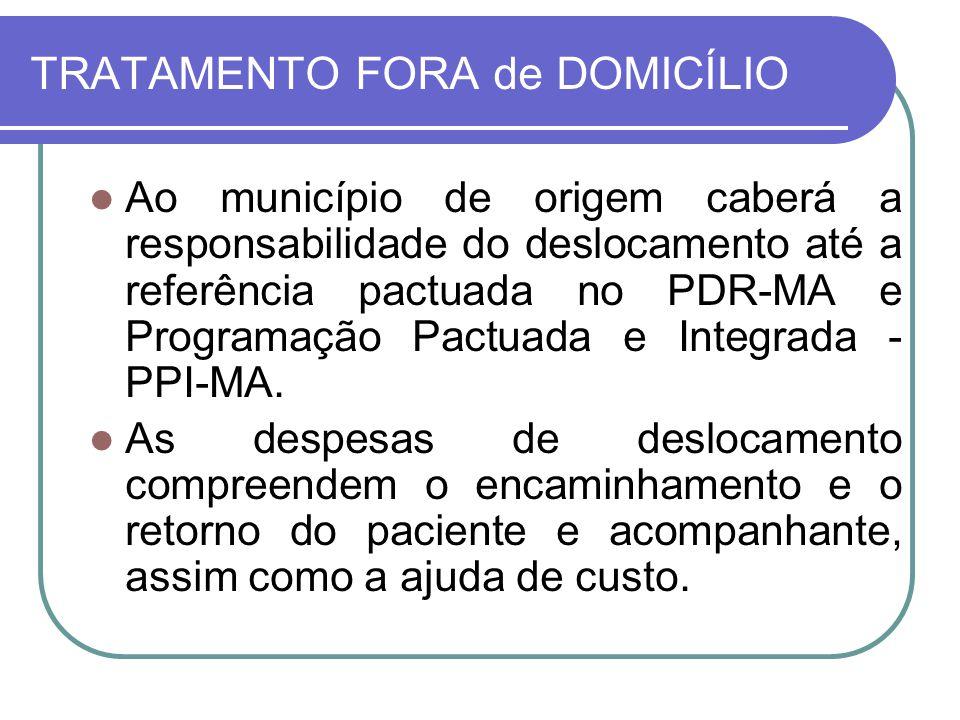 TRATAMENTO FORA de DOMICÍLIO Ao município de origem caberá a responsabilidade do deslocamento até a referência pactuada no PDR-MA e Programação Pactua