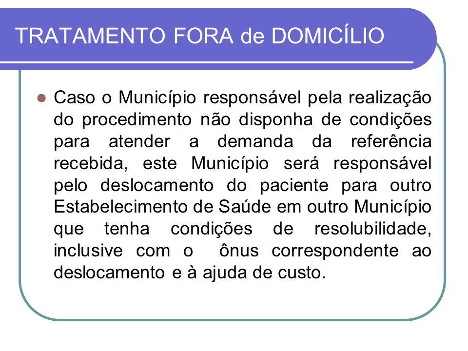 TRATAMENTO FORA de DOMICÍLIO Caso o Município responsável pela realização do procedimento não disponha de condições para atender a demanda da referênc