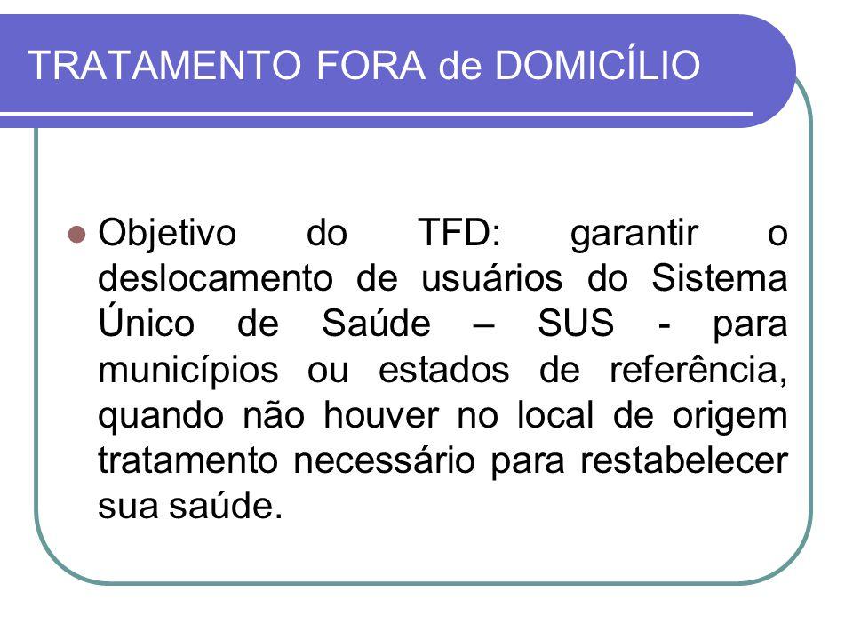 TRATAMENTO FORA de DOMICÍLIO Objetivo do TFD: garantir o deslocamento de usuários do Sistema Único de Saúde – SUS - para municípios ou estados de refe