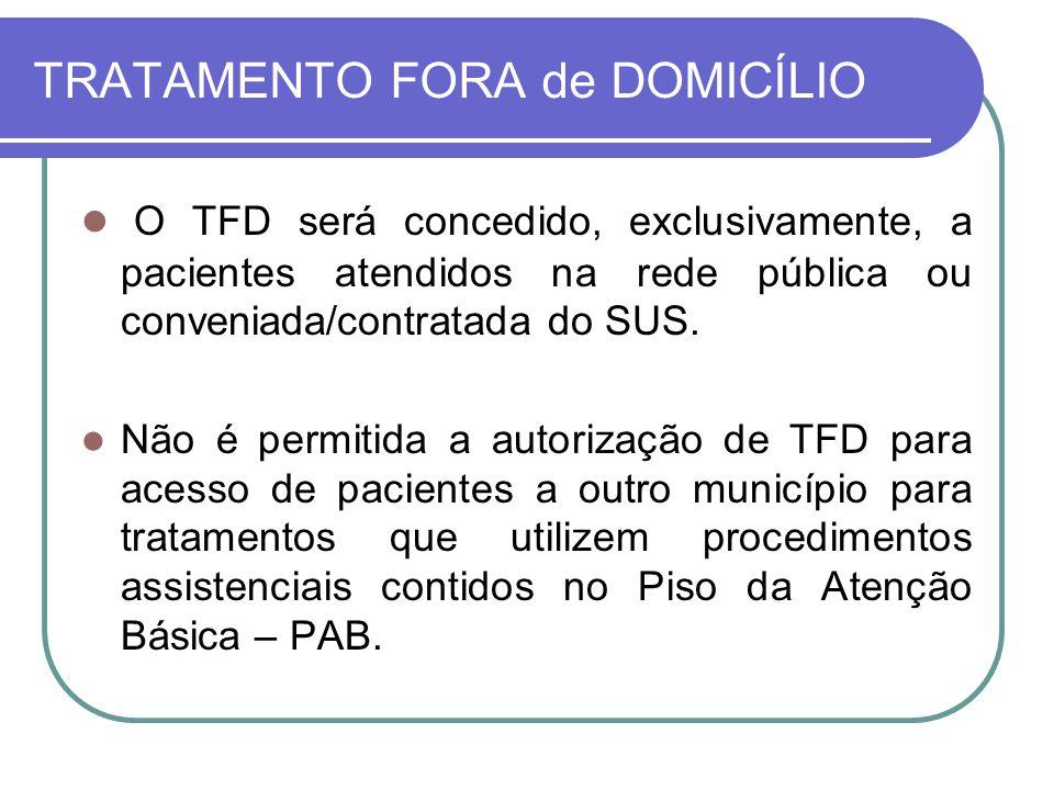 TRATAMENTO FORA de DOMICÍLIO O TFD será concedido, exclusivamente, a pacientes atendidos na rede pública ou conveniada/contratada do SUS. Não é permit