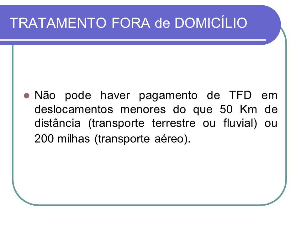 TRATAMENTO FORA de DOMICÍLIO Não pode haver pagamento de TFD em deslocamentos menores do que 50 Km de distância (transporte terrestre ou fluvial) ou 2