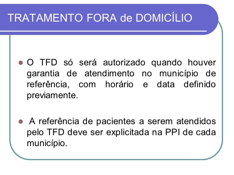 TRATAMENTO FORA de DOMICÍLIO O TFD só será autorizado quando houver garantia de atendimento no município de referência, com horário e data definido pr