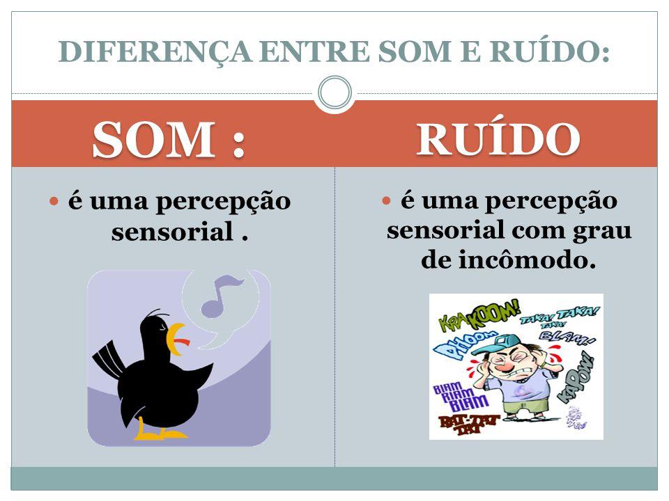 SOM : RUÍDO é uma percepção sensorial. é uma percepção sensorial com grau de incômodo. DIFERENÇA ENTRE SOM E RUÍDO: