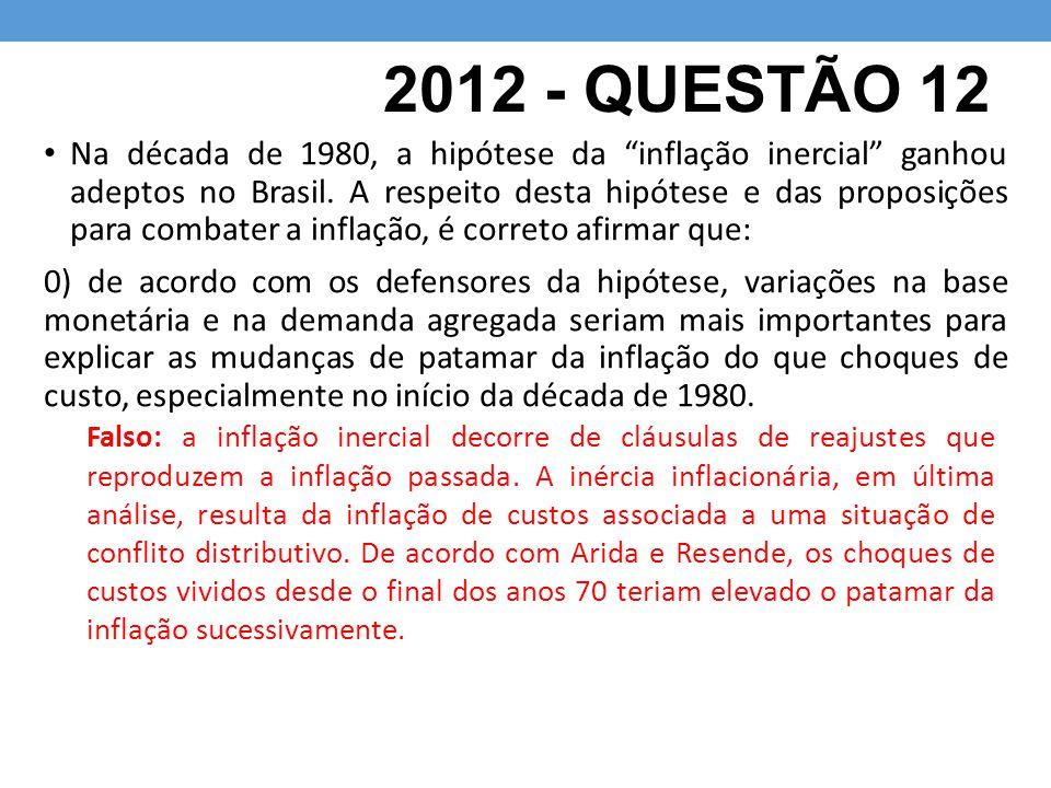 2012 - QUESTÃO 12 Na década de 1980, a hipótese da inflação inercial ganhou adeptos no Brasil.