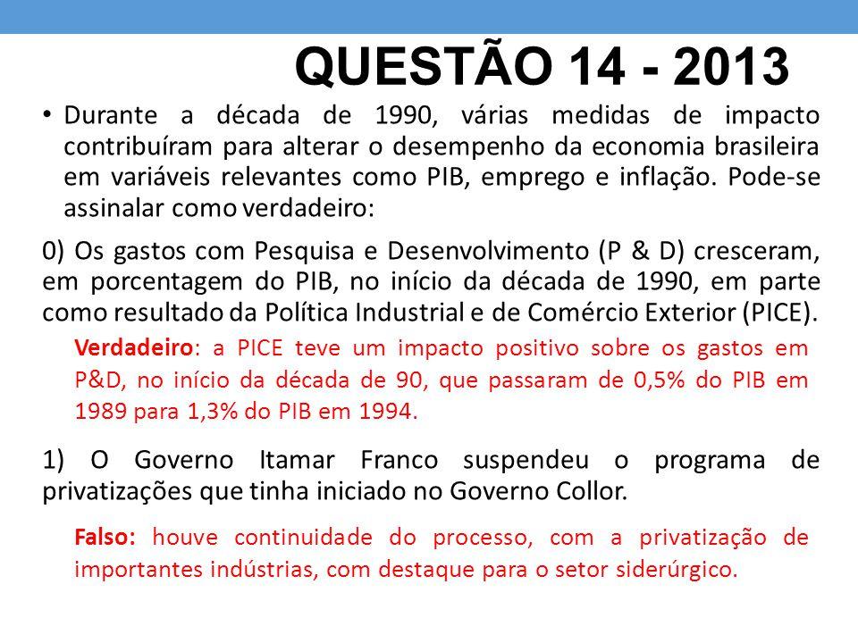 QUESTÃO 14 - 2013 Durante a década de 1990, várias medidas de impacto contribuíram para alterar o desempenho da economia brasileira em variáveis relevantes como PIB, emprego e inflação.