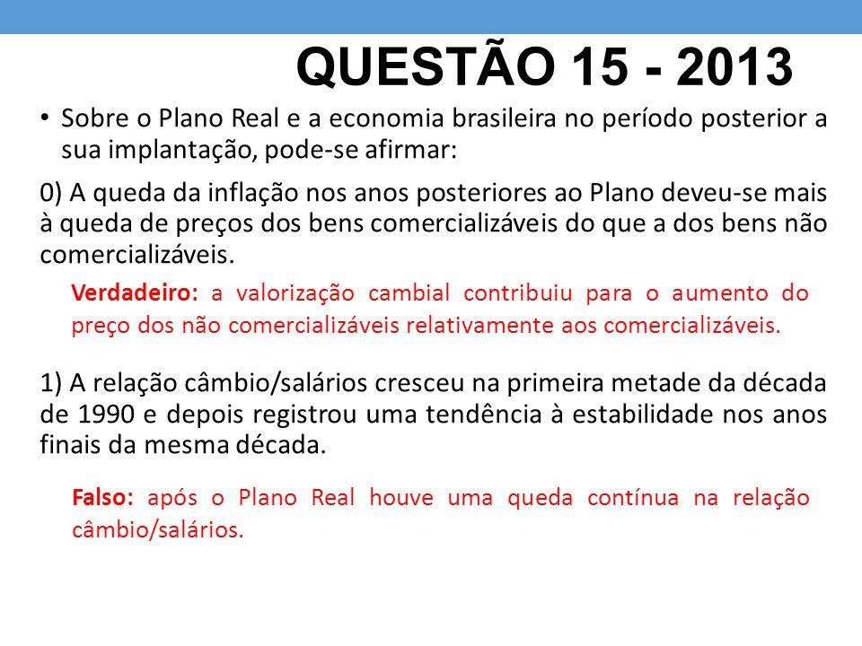 QUESTÃO 15 - 2013 Sobre o Plano Real e a economia brasileira no período posterior a sua implantação, pode-se afirmar: 0) A queda da inflação nos anos posteriores ao Plano deveu-se mais à queda de preços dos bens comercializáveis do que a dos bens não comercializáveis.