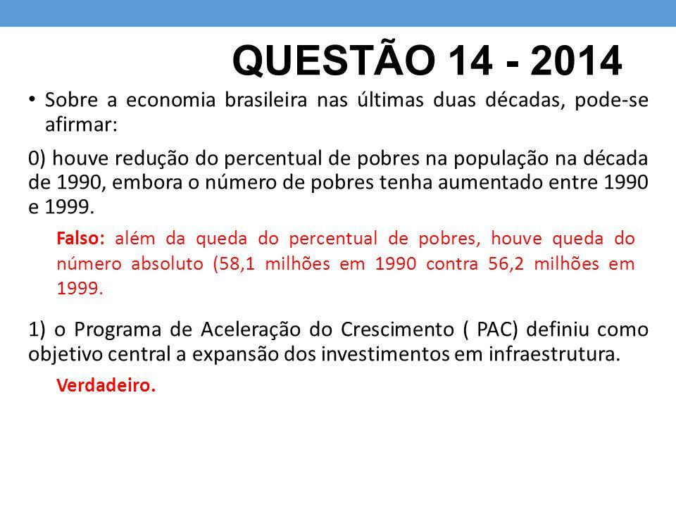 QUESTÃO 14 - 2014 Sobre a economia brasileira nas últimas duas décadas, pode-se afirmar: 0) houve redução do percentual de pobres na população na década de 1990, embora o número de pobres tenha aumentado entre 1990 e 1999.