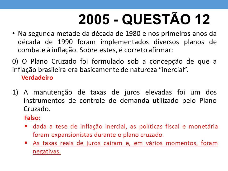 2005 - QUESTÃO 12 Na segunda metade da década de 1980 e nos primeiros anos da década de 1990 foram implementados diversos planos de combate à inflação.