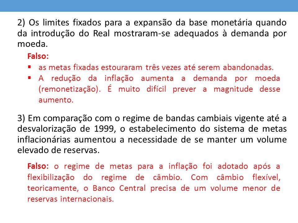 2) Os limites fixados para a expansão da base monetária quando da introdução do Real mostraram-se adequados à demanda por moeda.