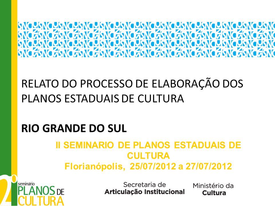 RELATO DO PROCESSO DE ELABORAÇÃO DOS PLANOS ESTADUAIS DE CULTURA RIO GRANDE DO SUL II SEMINARIO DE PLANOS ESTADUAIS DE CULTURA Florianópolis, 25/07/2012 a 27/07/2012