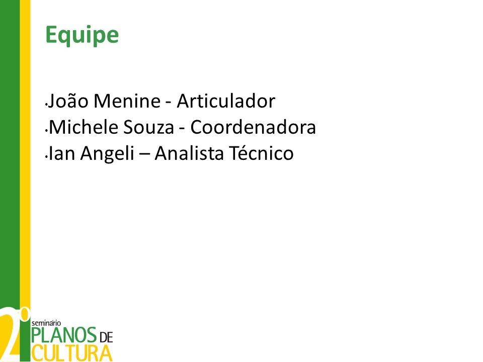 Equipe João Menine - Articulador Michele Souza - Coordenadora Ian Angeli – Analista Técnico
