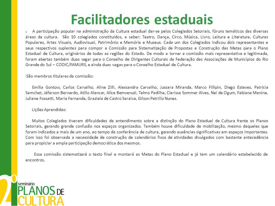 Facilitadores estaduais A participação popular na administração da Cultura estadual dar-se pelos Colegiados Setoriais, fóruns temáticos das diversas áreas da cultura.