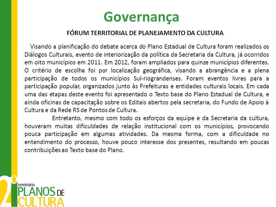 Governança Visando a planificação do debate acerca do Plano Estadual de Cultura foram realizados os Diálogos Culturais, evento de interiorização da política da Secretaria da Cultura, já ocorridos em oito municípios em 2011.