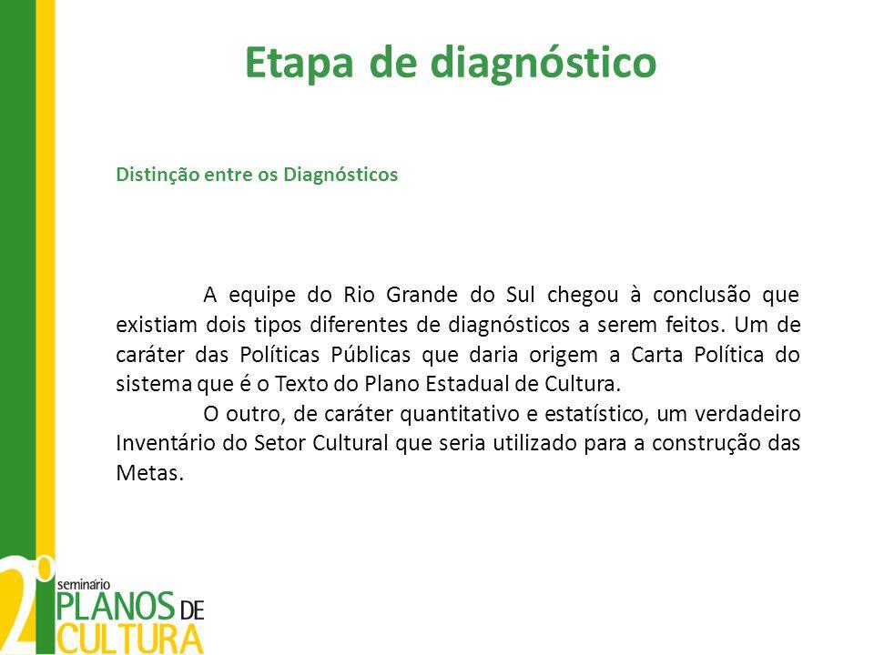 Distinção entre os Diagnósticos A equipe do Rio Grande do Sul chegou à conclusão que existiam dois tipos diferentes de diagnósticos a serem feitos.